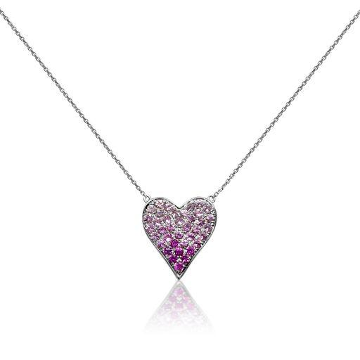 white gold pink heart necklace