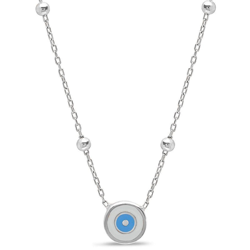 silver eye necklace for luck
