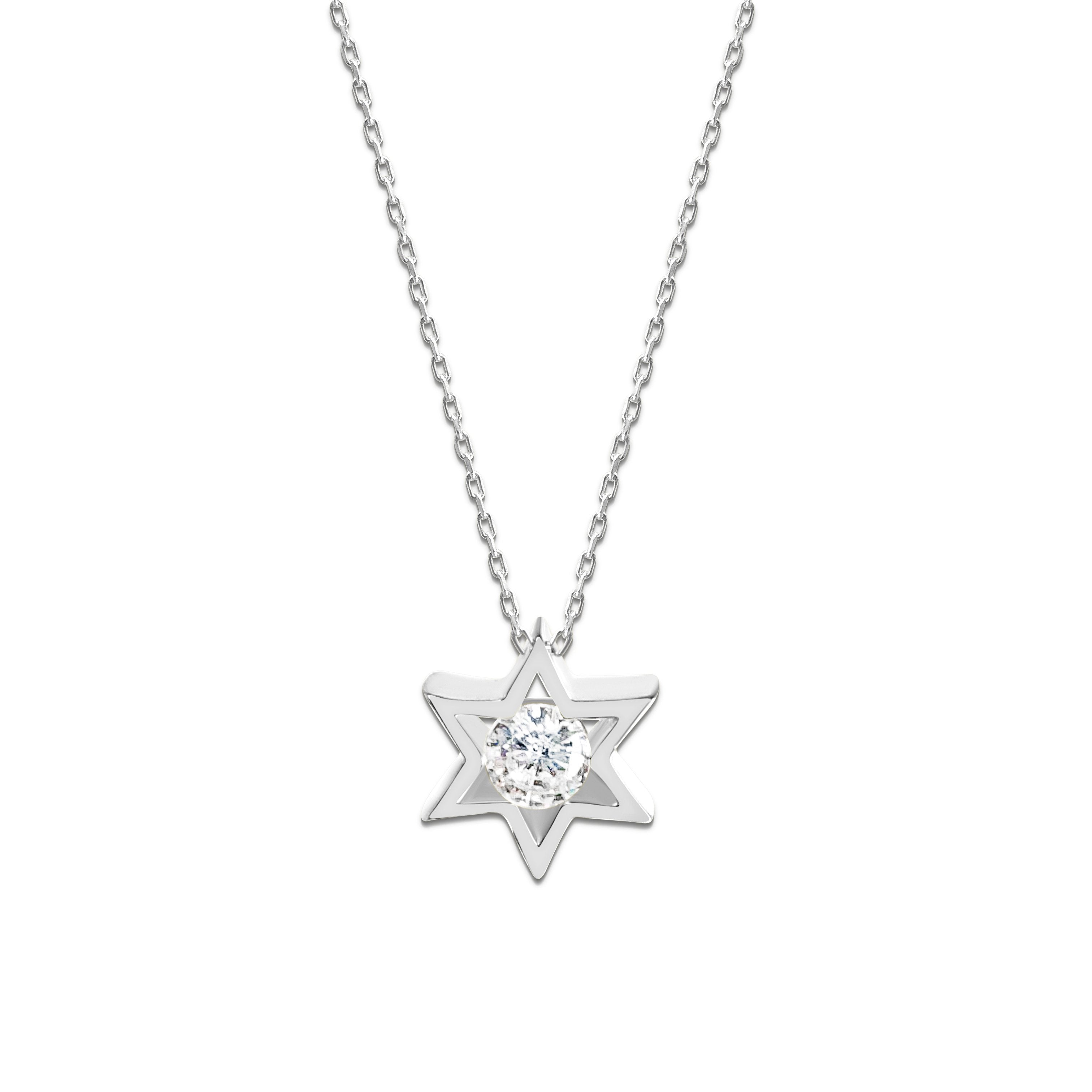 Jewish Star of David Charm With Center Stone