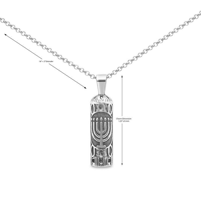 masculine mezuzah necklace in silver