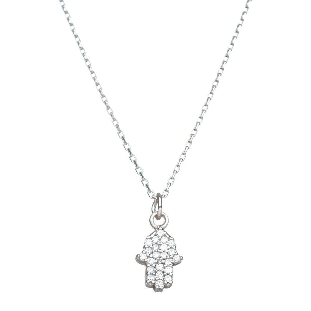 Hamsa Shiny Necklace in Sterling Silver
