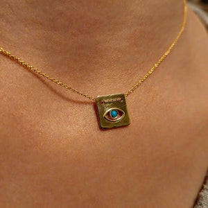 Square Shape Eye Necklace - Alef Bet Jewelry by Paula
