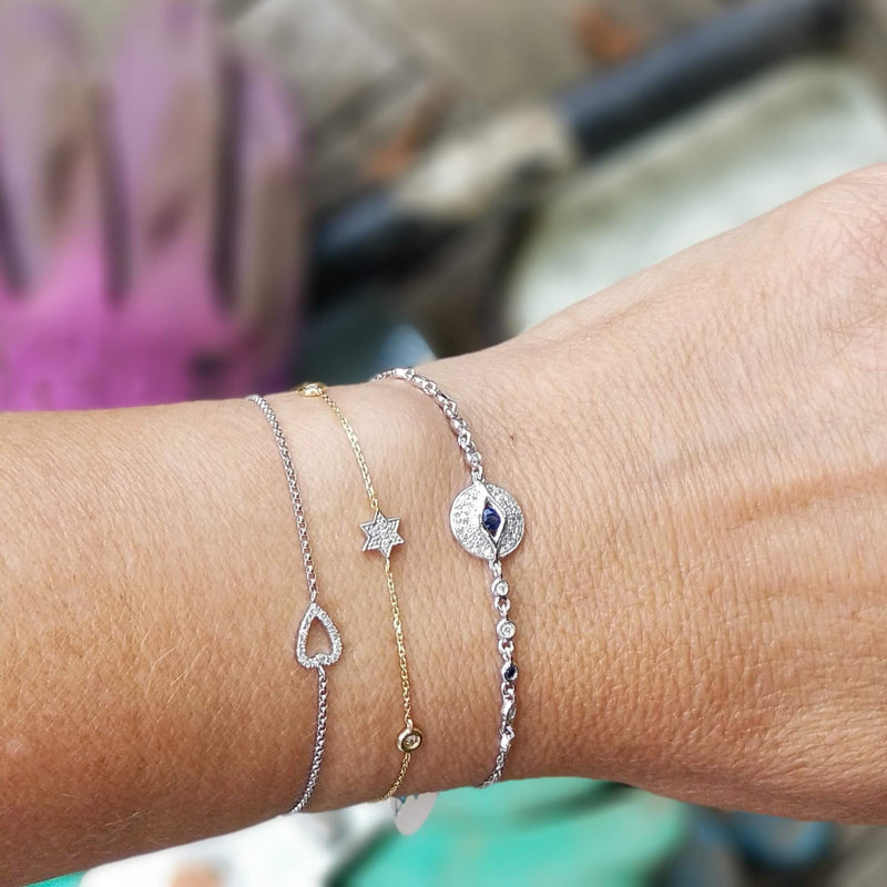 heart, eye, and star bracelet