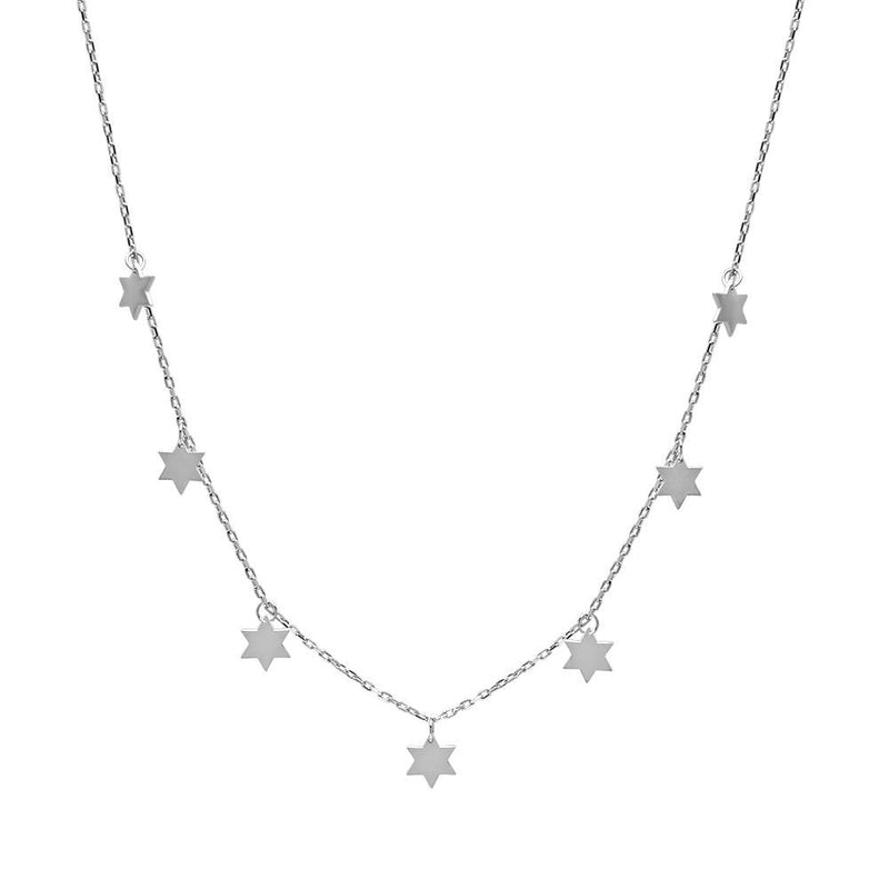 silver stars jewish necklace