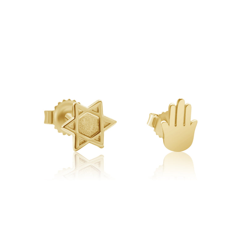 Mix and Match Earrings in 14k Gold - Alef Bet Jewelry by Paula