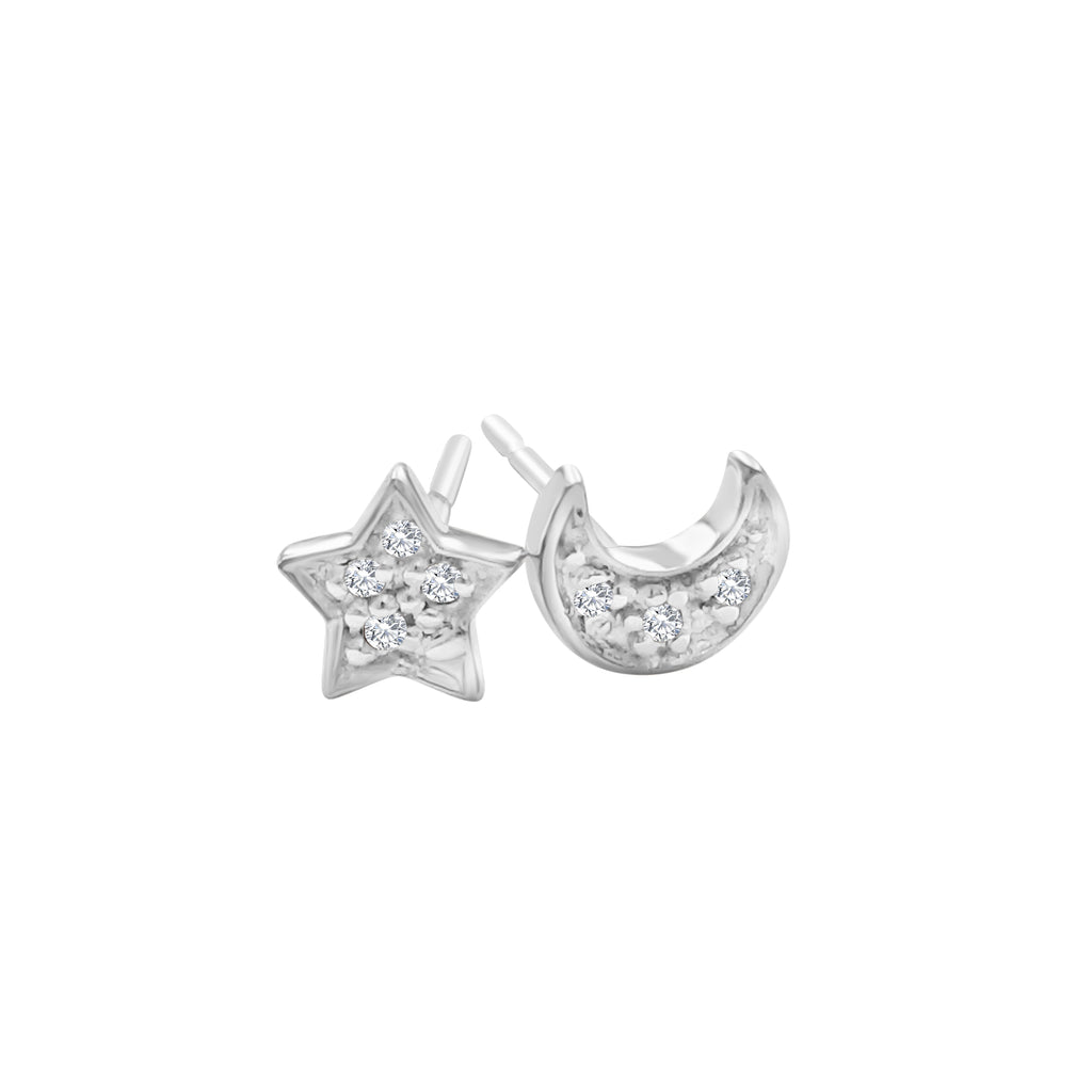 Moon and Star Diamond Earrings - Alef Bet Jewelry by Paula
