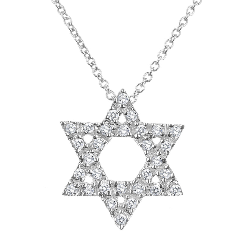 diamond gold jewish star necklace