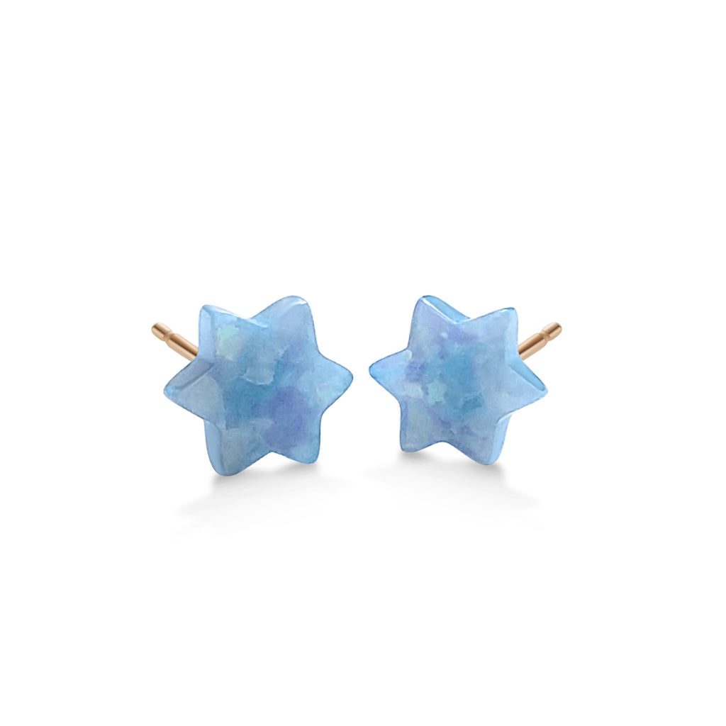 jewish star blue earrings