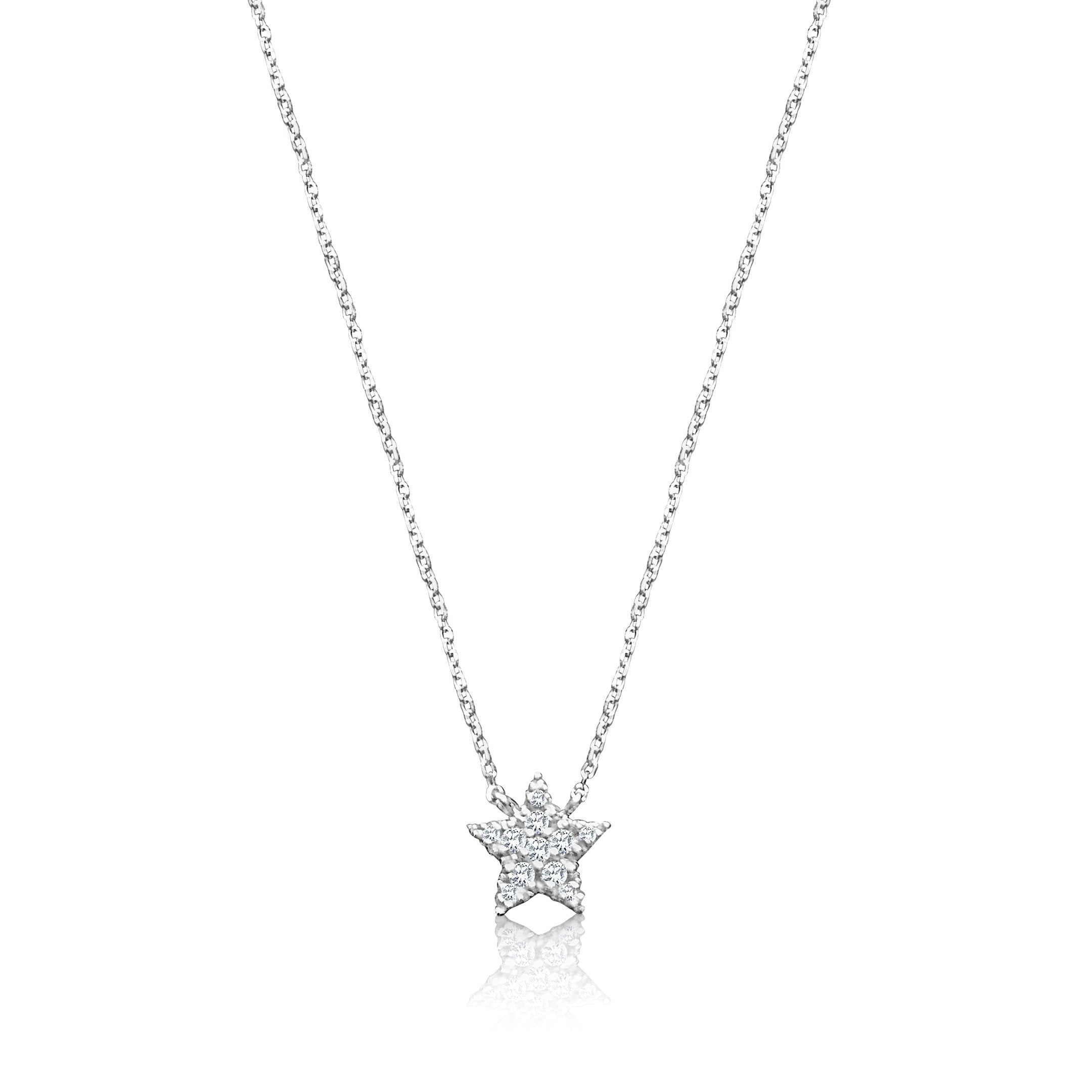 Diamond Sparkling Star Necklace in Solid Gold