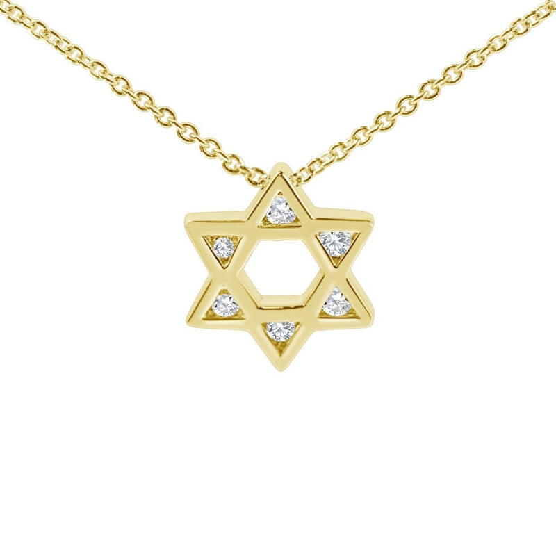 yellow gold and diamond jewish star