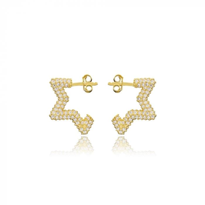 Gold Star Sparkling Stud Earrings