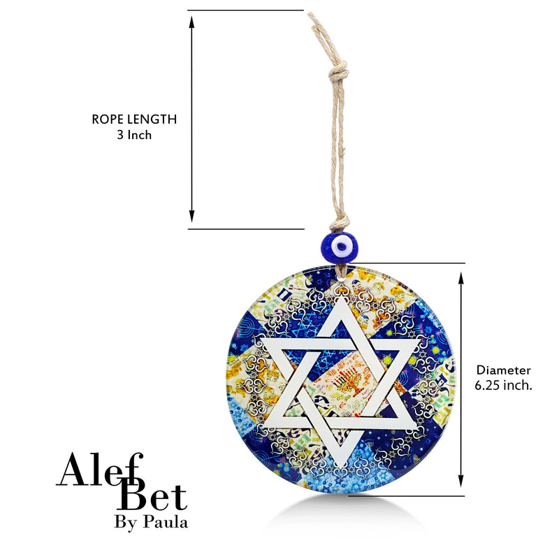 Jewish Star of David Glass Wall Hanging Ornament with Evil Eye