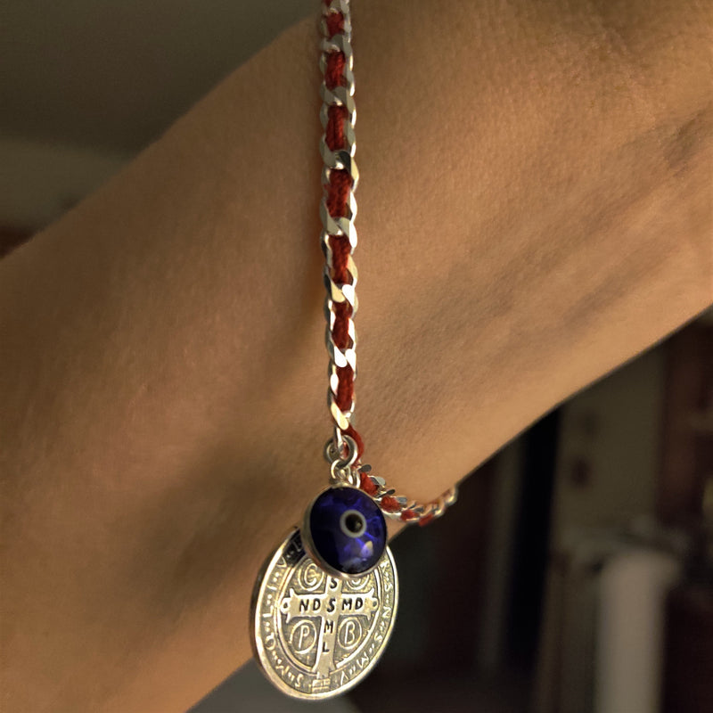 Saint Benedict Red String Bracelet and Evil Eye Bracelet