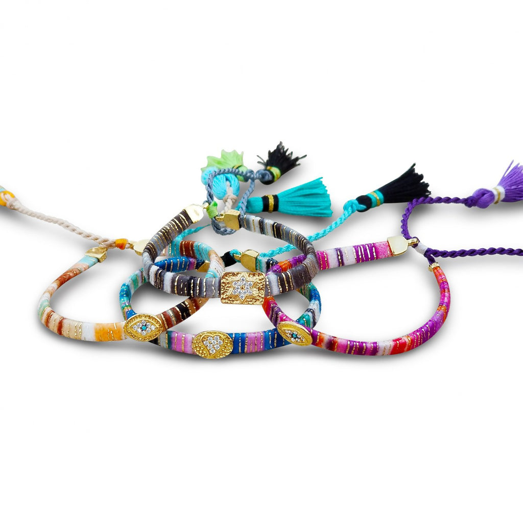 Jewish Star Colorful Handstrung Bracelet - Alef Bet Jewelry by Paula