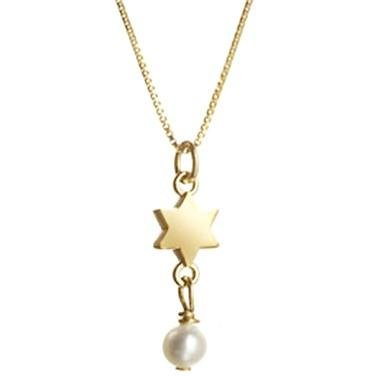 Gold Star with Freshwater Pearl Necklace