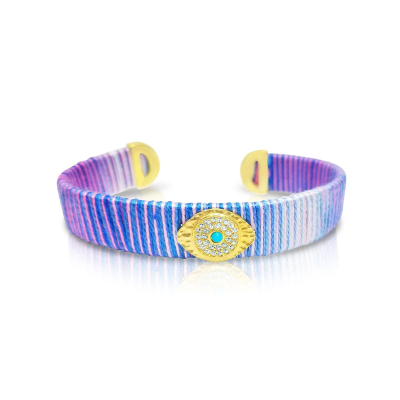 purple summer hues for evil eye bracelet