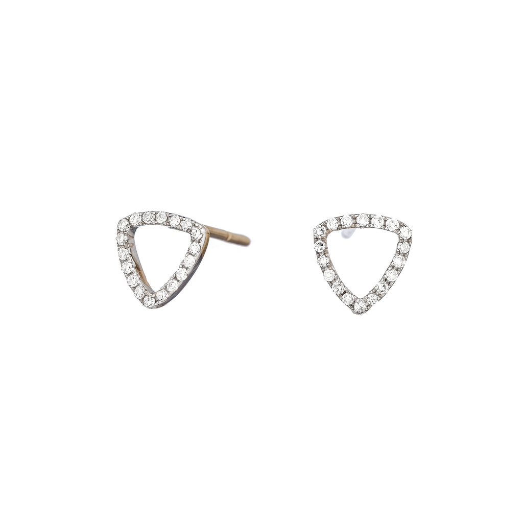 Gold Triangle Shaped Earrings diamonds and 14k gold