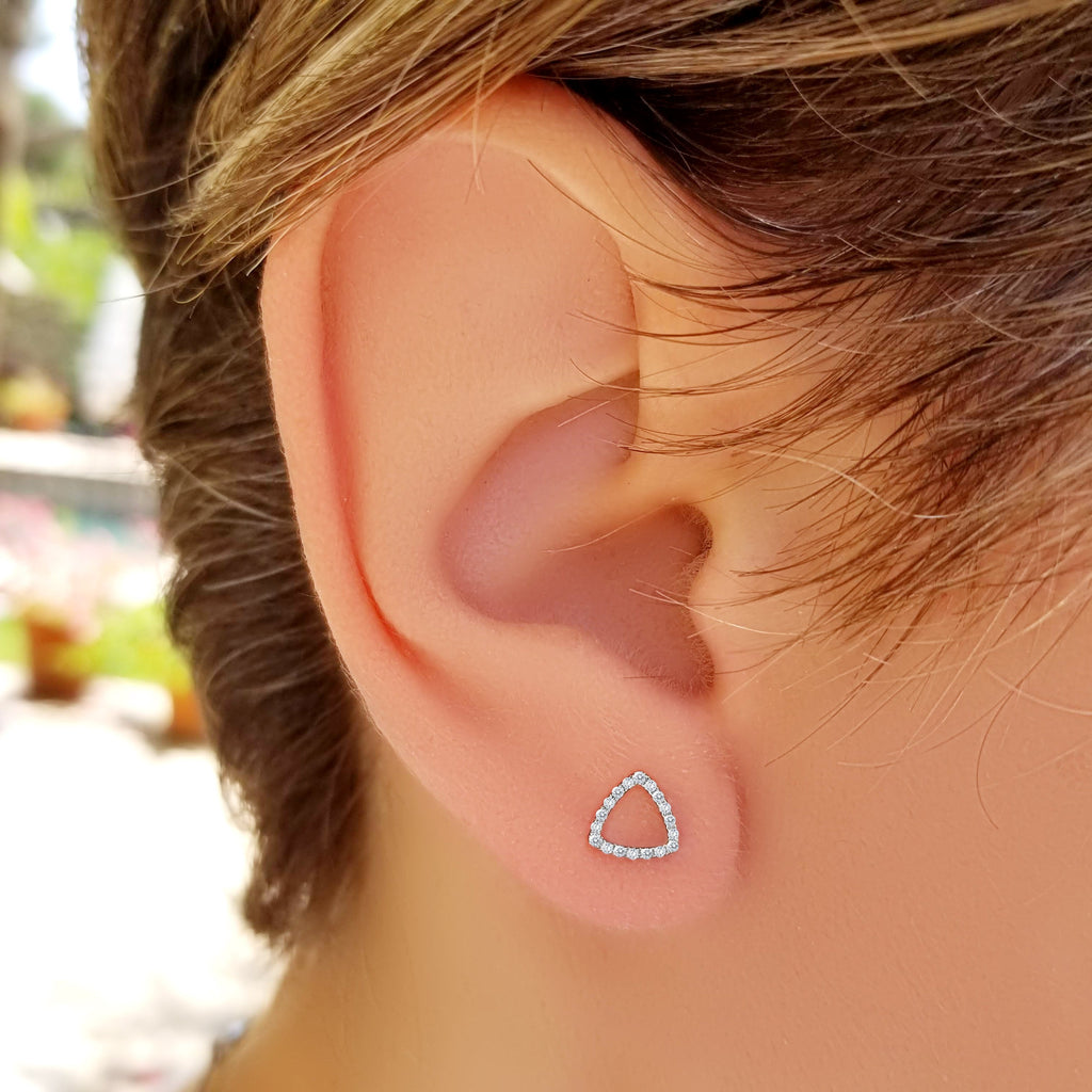 Gold Triangle Shaped Earrings - Alef Bet Jewelry by Paula