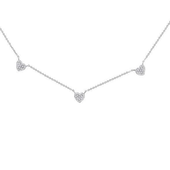 Triple Heart Diamond Necklace - Alef Bet Jewelry by Paula