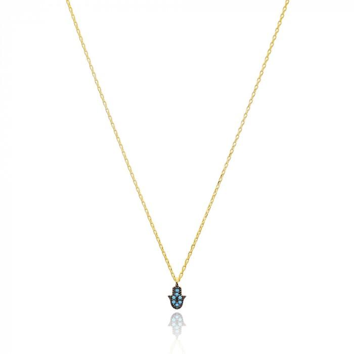 hamsa necklace in gold