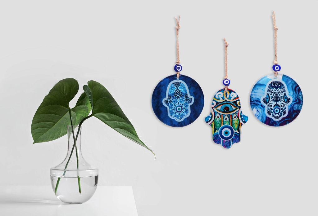 Hamsa Glass Wall Hanging Ornament with Evil Eye