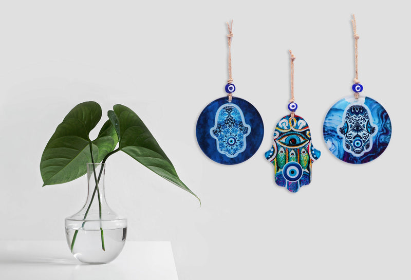 Hamsa Glass Wall Hanging