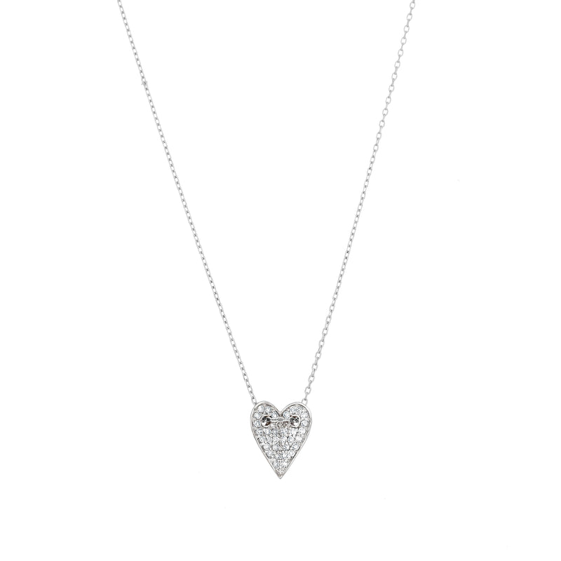 white gold heart and diamond charm necklace for women