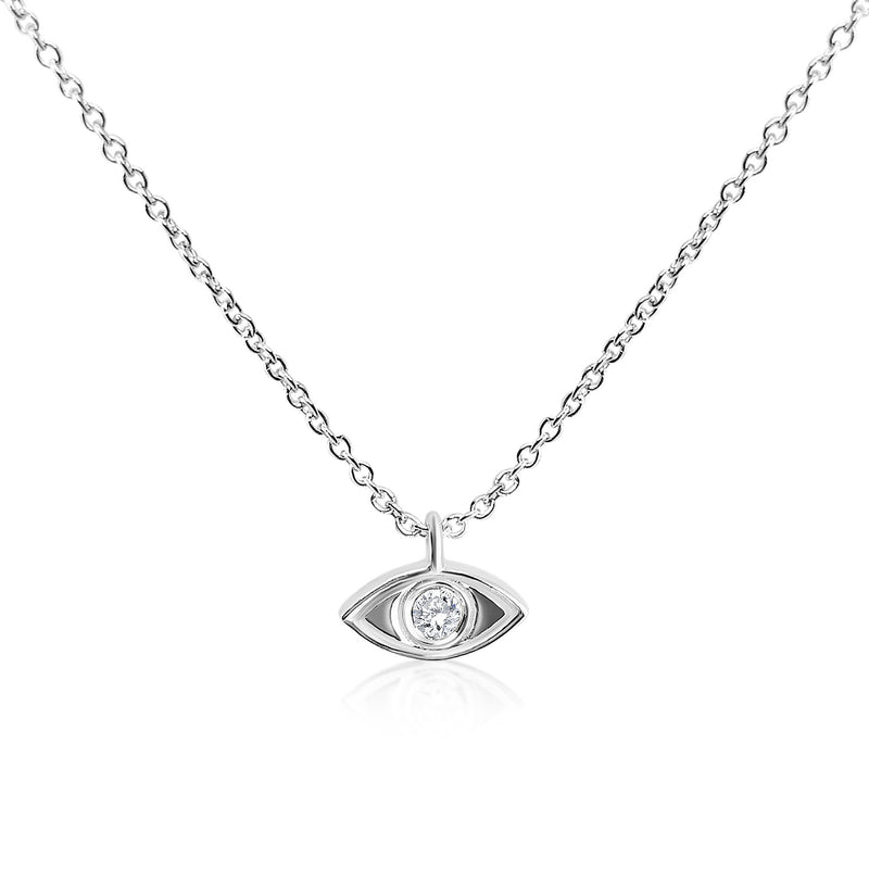 white gold evil eye necklace