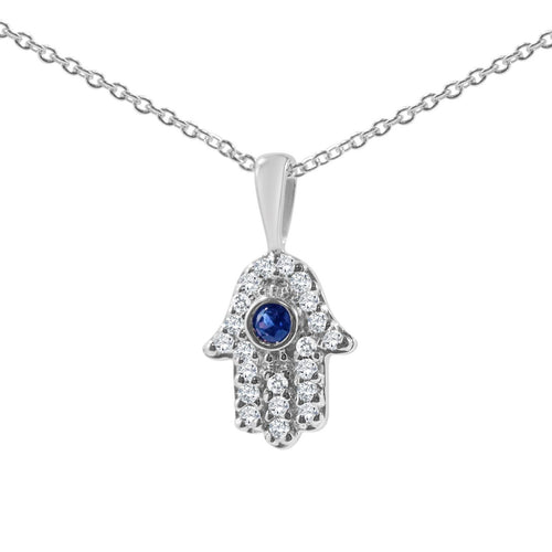 hamsa necklace white gold and diamonds
