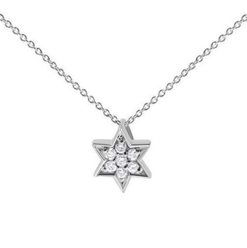 white gold and diamond jewish star necklace