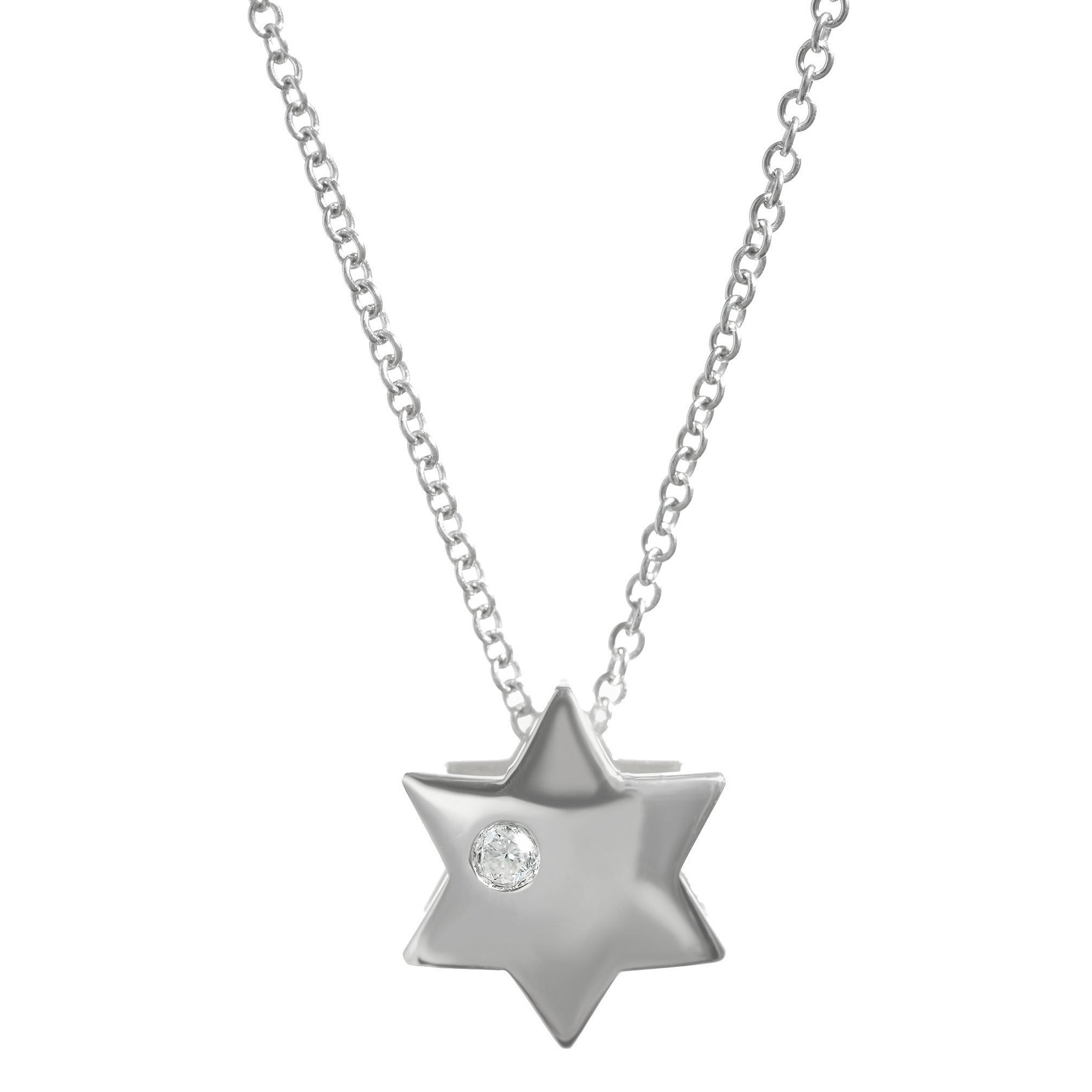 Single Diamond Star of David Necklace - Alef Bet Jewelry by Paula