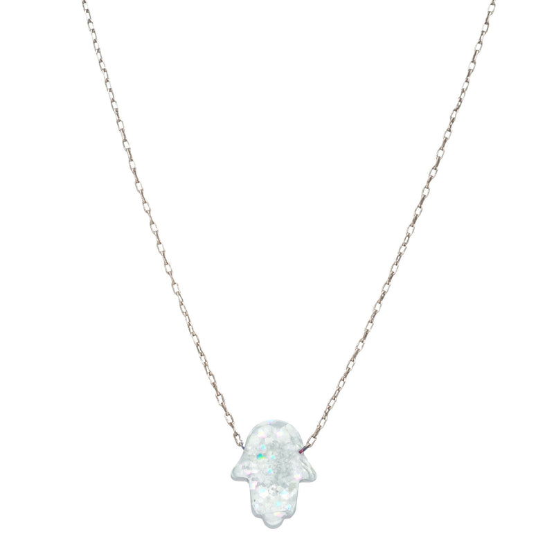Opal Hamsa Large Necklace in Sterling Silver
