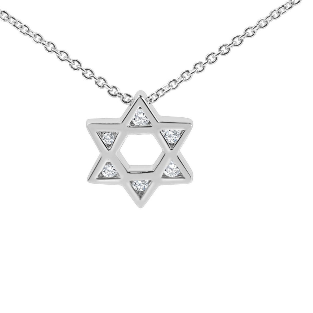 Heirloom Judaic Necklace in 14k Gold with Diamonds