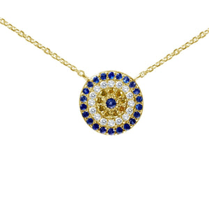 evil eye necklace yellow 14k gold