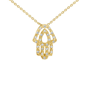 hamsa hand charm in yellow gold