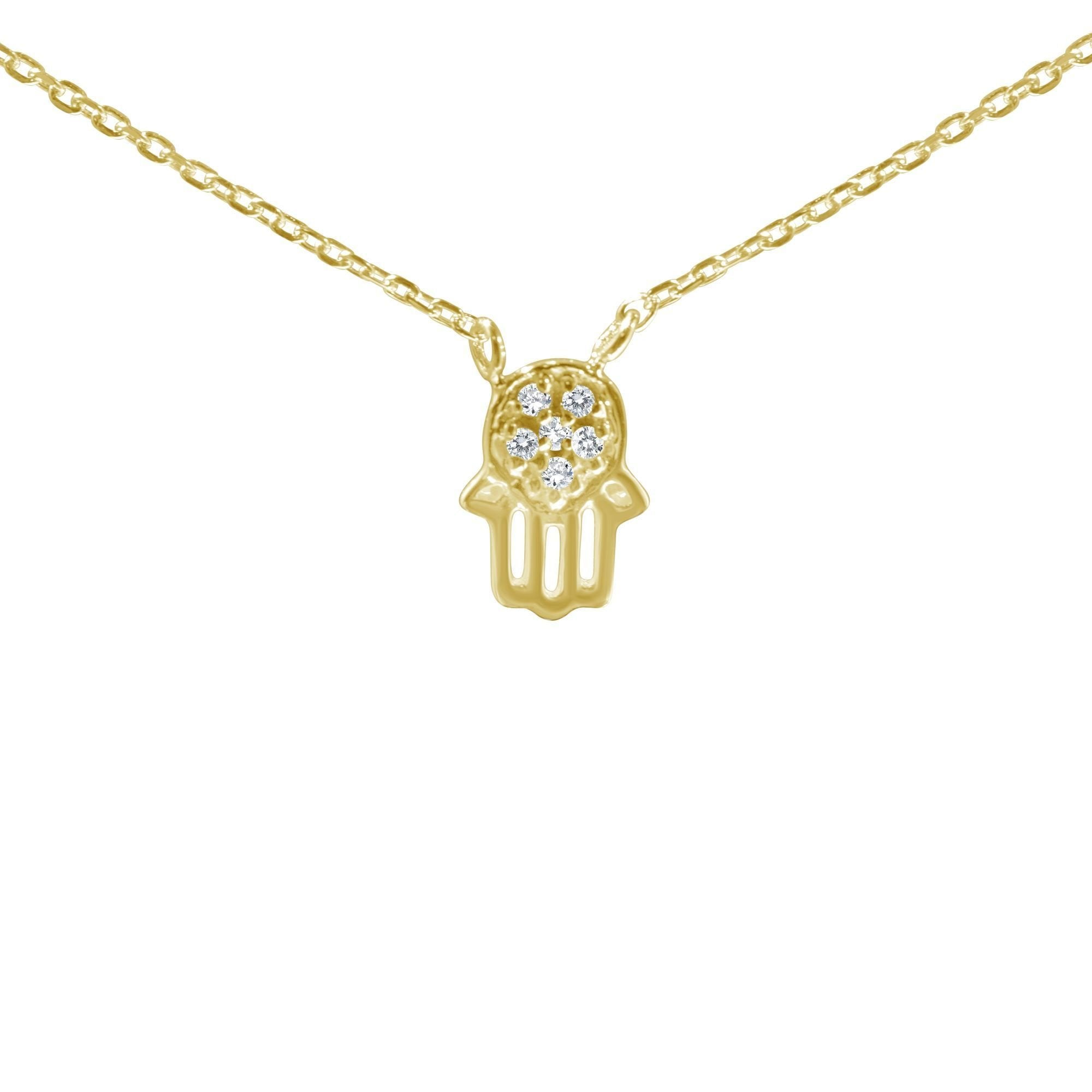 Tiny Hamsa Diamond Necklace