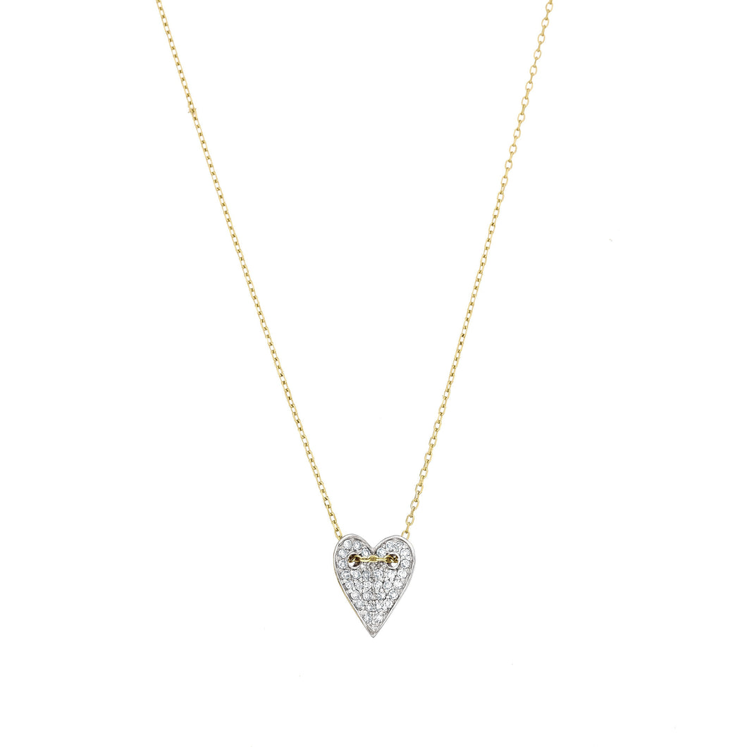 diamond heart necklace in gold