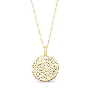 shema pendant in yellow gold