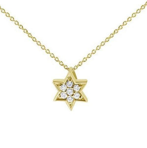 Jewish Star Necklace in yellow gold with diamonds