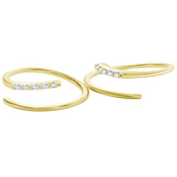 Diamond Earrings in Gold with Diamonds That Twist - Alef Bet Jewelry by Paula