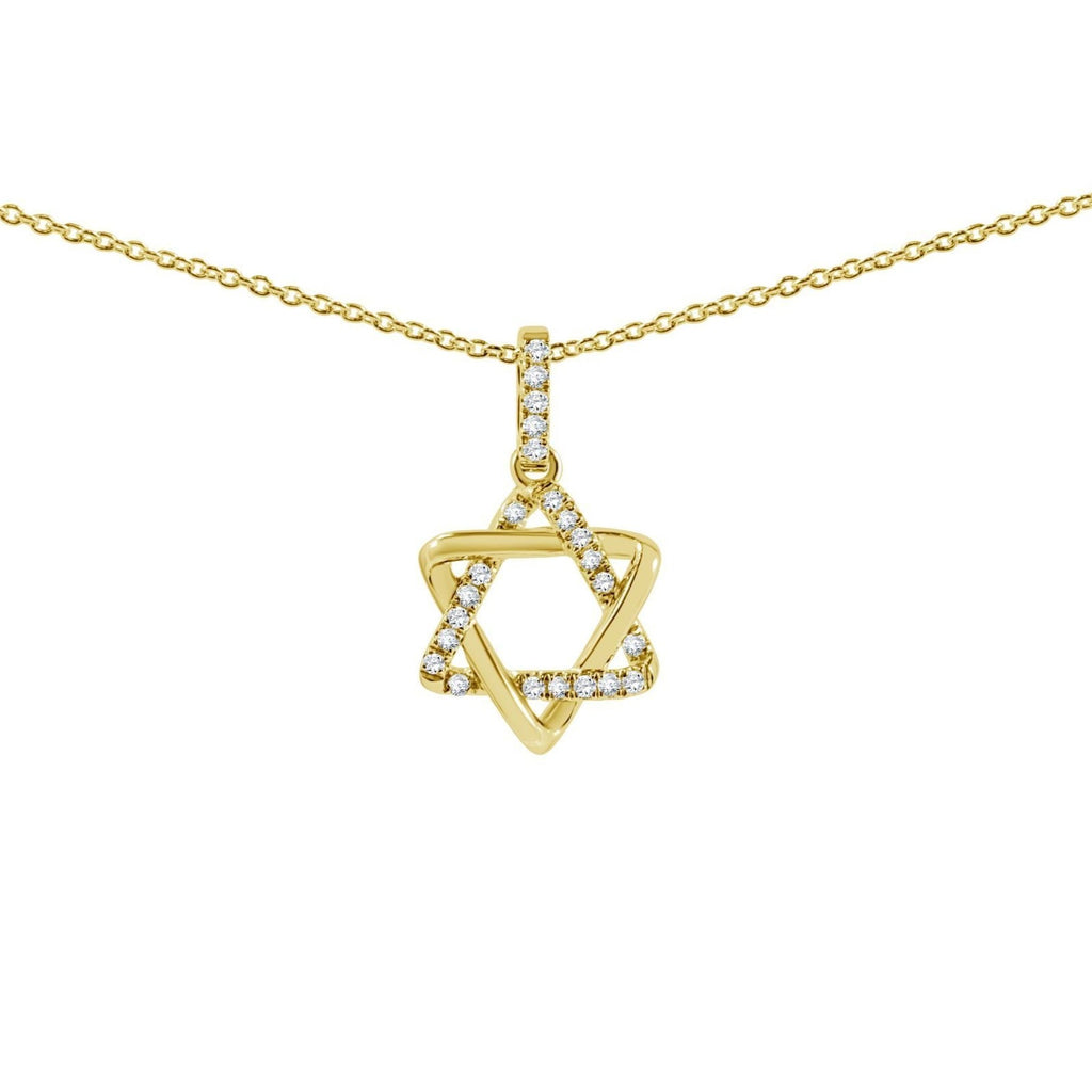 Pave Diamond Jewish Star Necklace - Alef Bet Jewelry by Paula