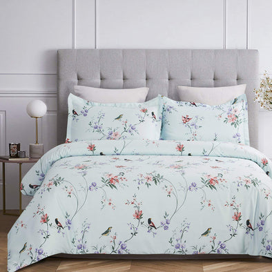 100-Percent Cotton Duvet Cover Sets Spa Blue Birds Pattern