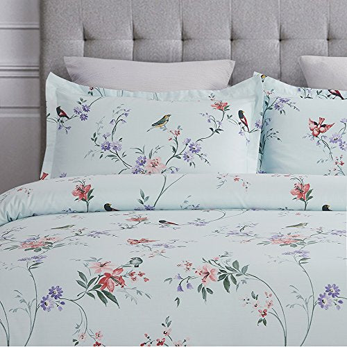 100-Percent Cotton Duvet Cover Sets Spa Blue Birds Pattern-3