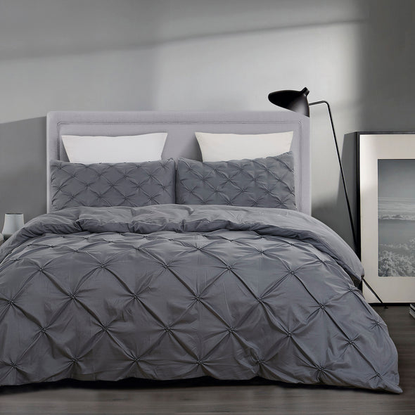 vaulia Microfiber Duvet Cover Sets Tufted Pattern grey