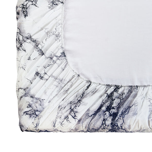 Lightweight Microfiber Fitted Sheet White Marble BT328