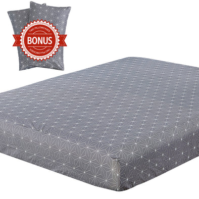 Vaulia Lightweight Microfiber Fitted Sheet Dark Grey/White