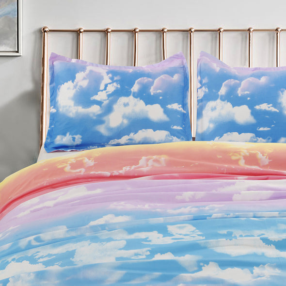 Print Colorful Clouds Pattern Microfiber Duvet Cover Set BS108