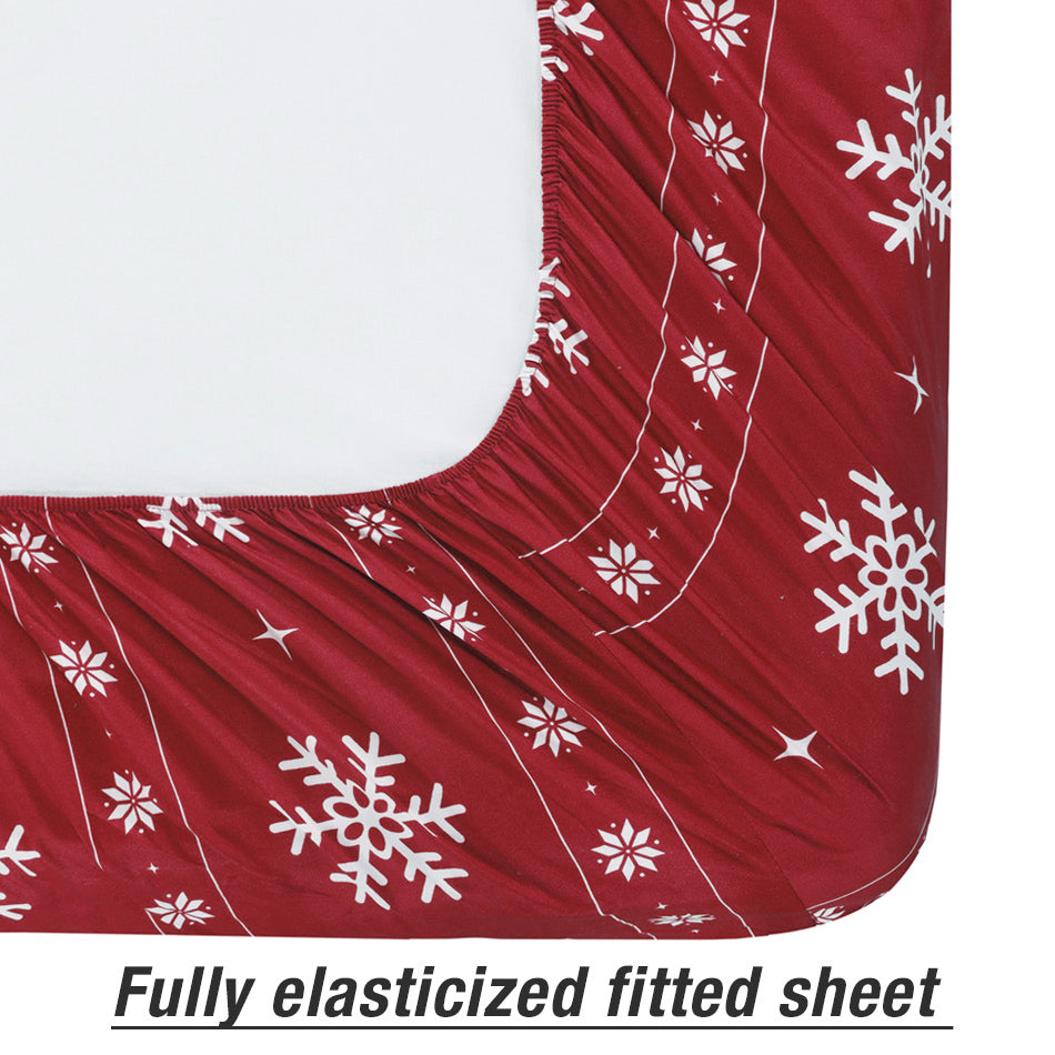 Microfiber Fitted Sheet Printed Pattern Design Bright Pink
