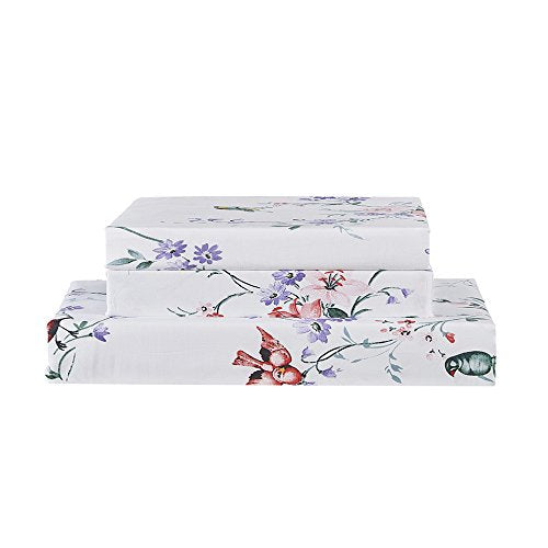 Vaulia 100-Percent Cotton Duvet Cover Sets,White Flower and Birds