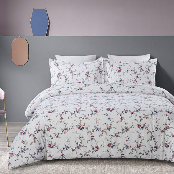 Vaulia Soft Microfiber Duvet Cover Set, Flower and Branches BS270